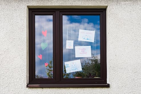 thank you doctors notes on a window